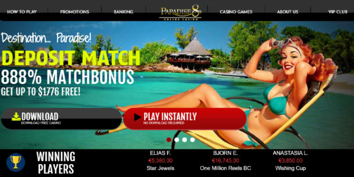 Online Casino Sites Review About Paradise 8 Casino GamingZion.com Online Gambling Sites Match Bonus Welcome Bonus First Deposit Bonus Casino Welcome Bonus Online Casino Bonus Online Gambling Bonus