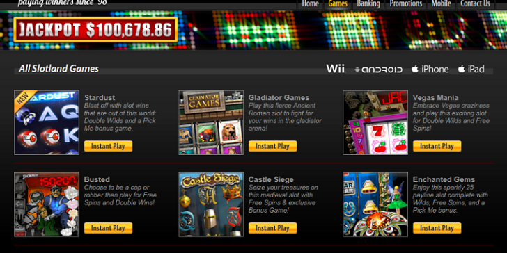 Play mobile casino games at Slotland!