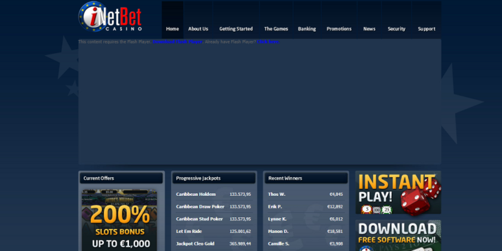 Review About iNetBet.eu Casino Main Page