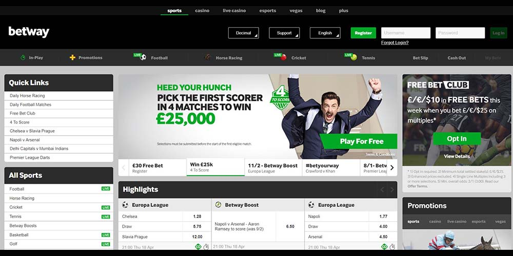 About Betway Sportsbook Games, Odds, Offers, Banking and More! | GamingZion