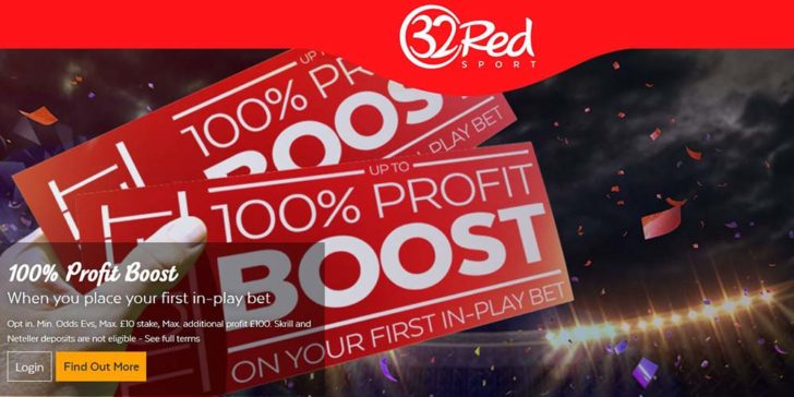 100% Profit Boost on Sports Betting With 32Red Sports