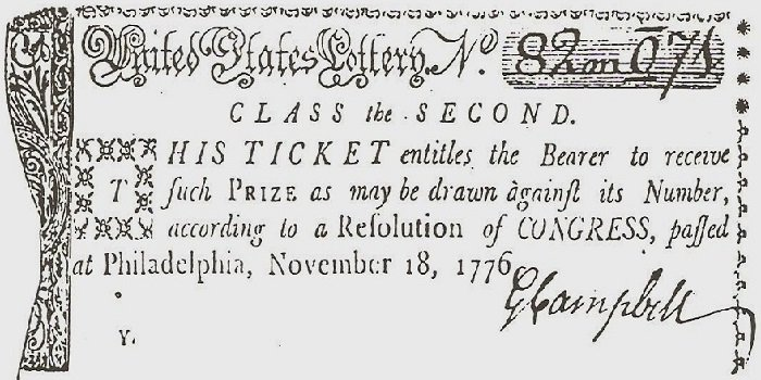 1776 Continental Congress fundraising lottery ticket