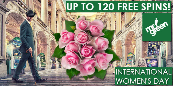 International Women's Day Free Spins up to 125 at Mr Green Casino