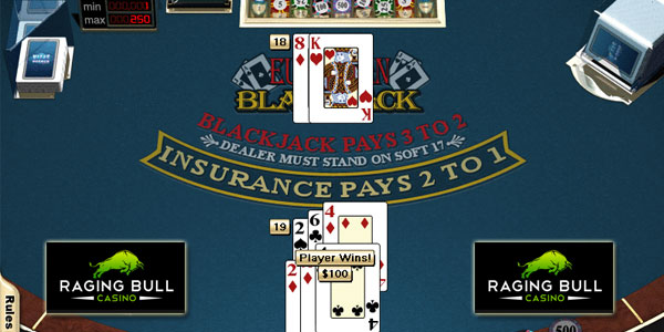 Play European Blackjack Online at Raging Bull Casino rules and guide to euro blackjack