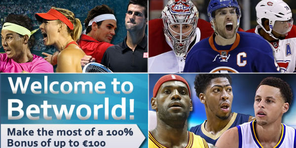 Start Wagering with a 100% Max. €100 Sports Betting First Deposit Bonus at Betworld Sportsbook!