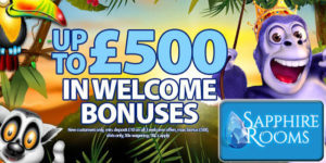 Play with a £500 UK Casino Welcome Package at Sapphire Rooms!