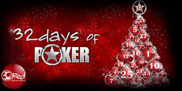 32Red Poker Casino gives you 32 Days of Poker promotions on a silver platter as your christmas gift