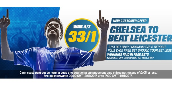 Coral Odds for Chelsea v Leicester