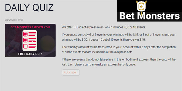 Win free cash playing BetMonsters free daily quiz