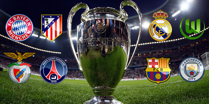 Champions League Trophy With Logos Of Barcelona Real Madrid Atletico PSG