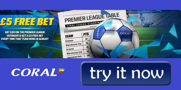 Coral sportsbooks Premier League title promo