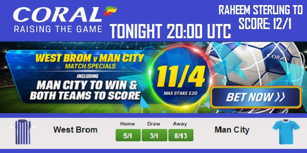Coral Sportsbook Dishes out Cool Offer for West Brom vs Man City Game