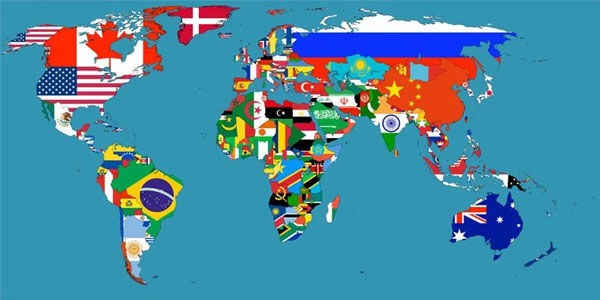 Flag world map