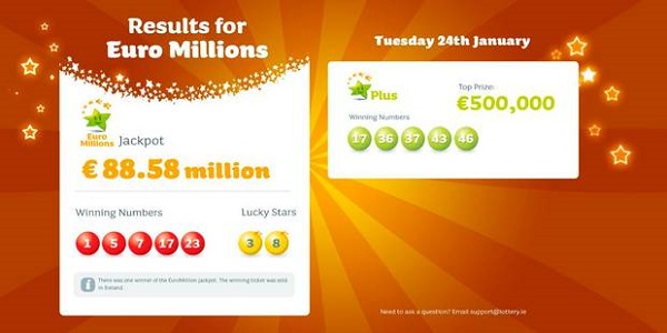 Monday millions results ireland prizes