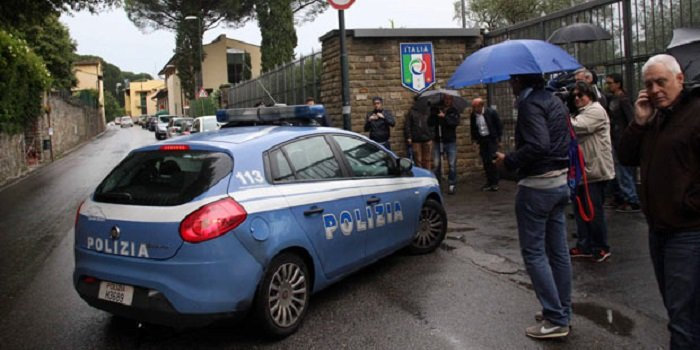 Italian Police at National team's training center entrance match fixing scandal