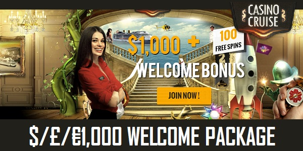 Get up to €1,000 on your First 4 Deposits +100 Free Spins with the Casino Cruise Welcome Package
