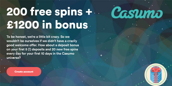 welcome bonus at Casumo