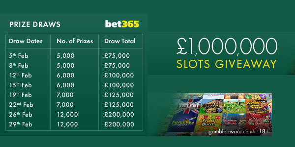 Win Your Chunk from the £1,000,000 Best Slots Giveaway at Bet365 Casino!