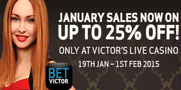 Bargains galore at Betvictor Casino live casino January sale