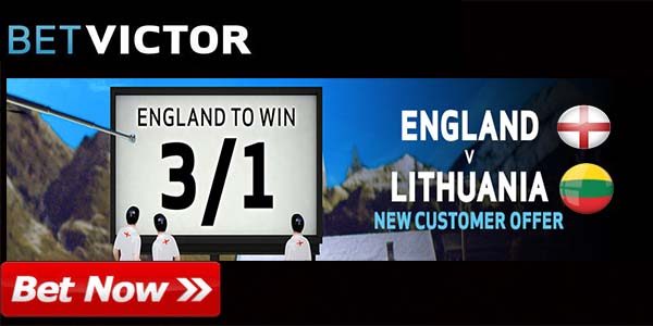 Enhanced Odds for England to Beat Lithuania at BetVictor Sportsbook