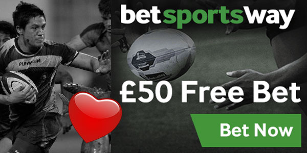 BetWay Sportsbook offers bonus single bets at odds of 1.75 or over for Valnetine's Day Six Nation rugby Cup matches