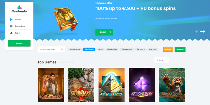 Casilando Casino Main Page Welcome Bonus