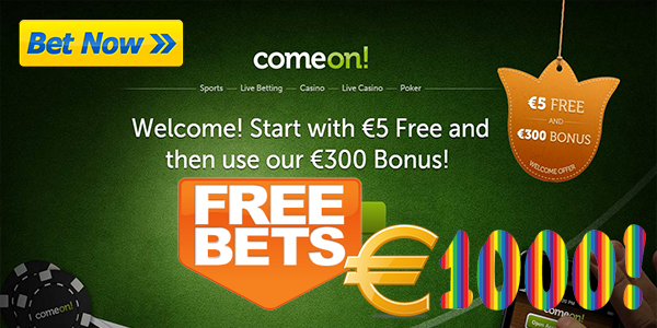 Grow Rich with ComeOn! Casino's Free Bet Prizes up to EUR 1,000