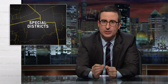 John Oliver on Last Week Tonight explaining Special Districts which coul explain restrictive Gambling laws in the US