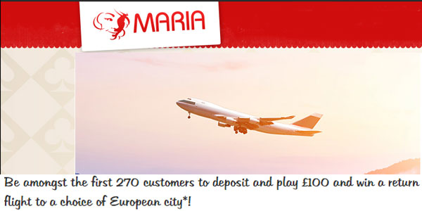 Maria Casino win a return flight to any European city promo