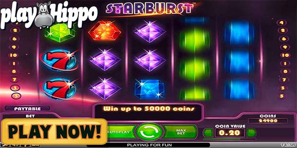 PlayHippo Casino + Starburst slot + 1780 free spins + minimum deposit EUR 30