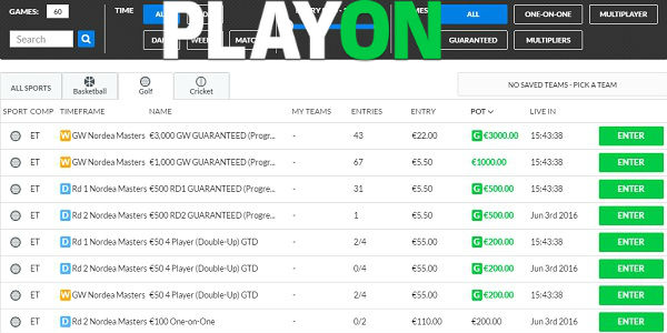 PlayOn Daily FantasyGolf European Tour Promo