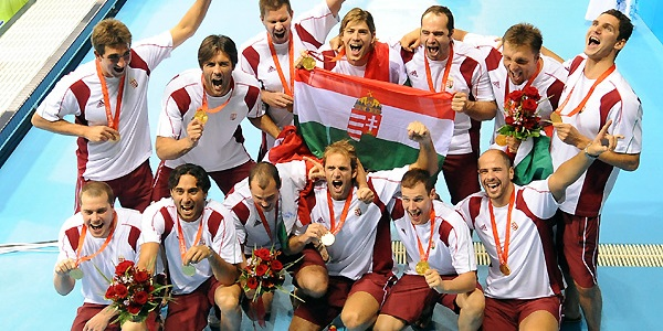 Hungary Olympic Water Polo Victory Celebration Beijing 2008