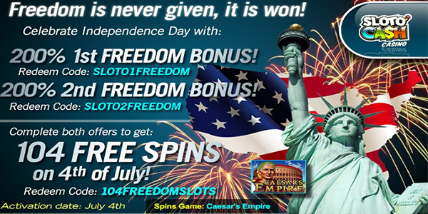 Slotocash Casino Offers 250% Freedom Bonus for Independence Day
