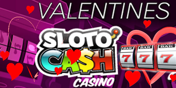 Deposit  $35 to play at SlotoCash Casino for Valentine's and claim a 214% bonus