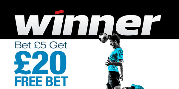 Place $5 and get a $20 free bet with Winner Sportsbook