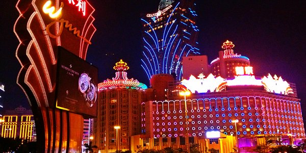 Casino lights in Macau, 15th anniversary of reunification