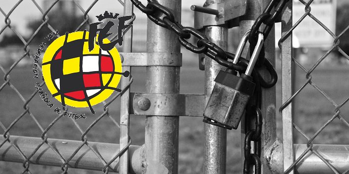 Locked fence, padlock, Spanish Football Federation