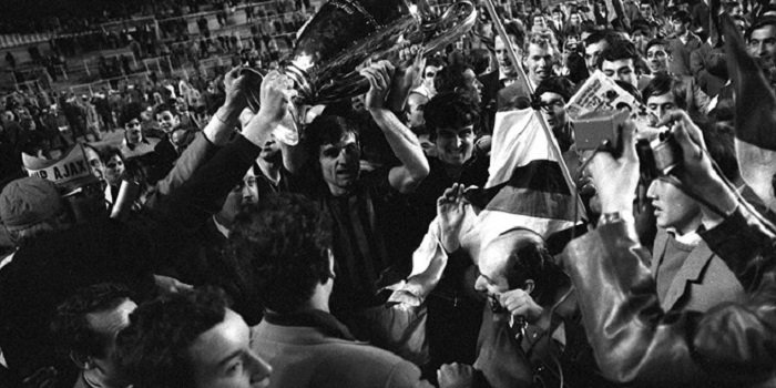 Prati holding European Cup after 1969 final