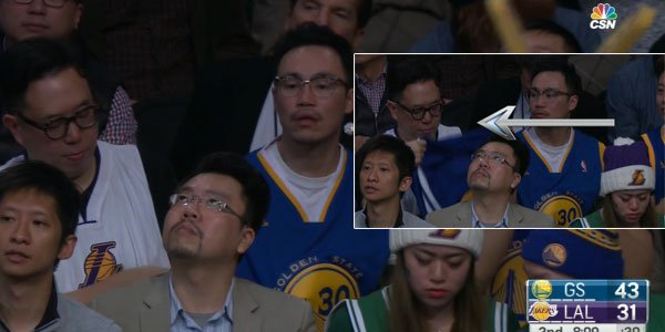 Fan switches lakers jersey with warriors jersey