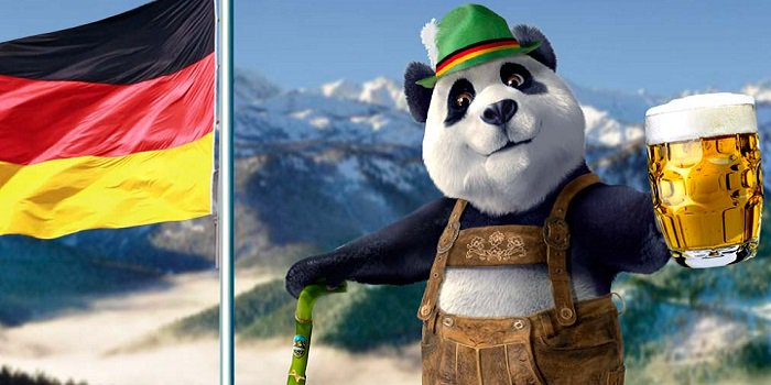 Royal Panda in Alps with beer