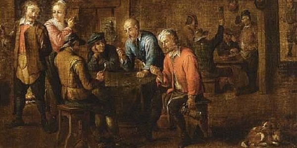 David Teniers Peasants Smoking and Playing Dice in an Inn