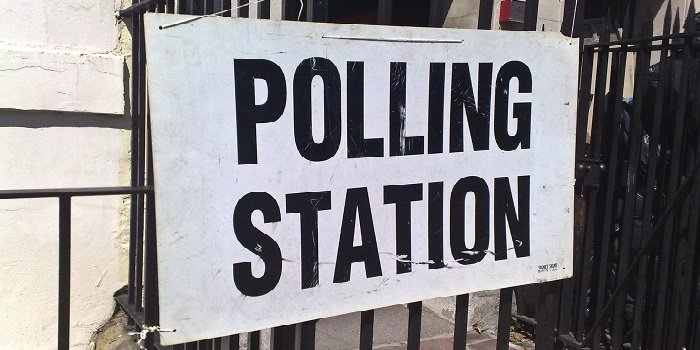Polling station, British elections 2015