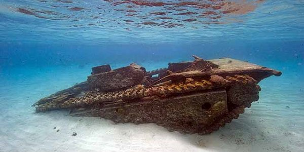 Tank submersed in water