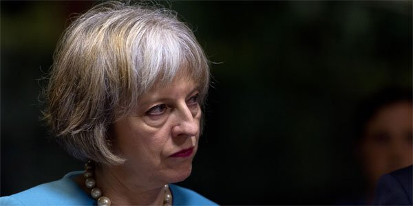 Theresa May in blue