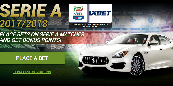 Bet on Serie A Matches at 1xBET Sportsbook to Win a Maserati Quattroporte S!
