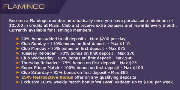 Miami Club Casino Monthly Loyalty Promo