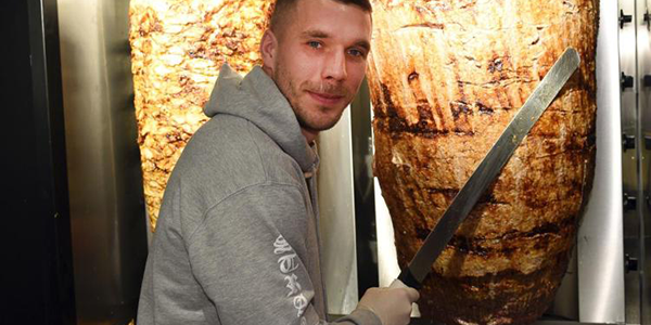 A German Selling Kebabs in an Ironic Twist? Get your Turkish Meat from Lukas Podolski!