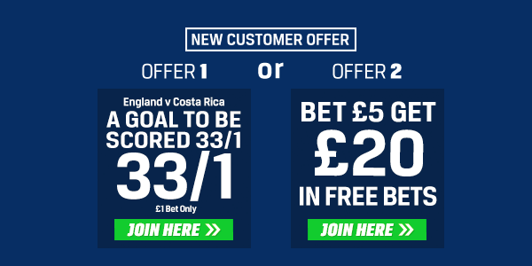 Coral Sportsbook England v Costa Rica Enhanced Odds