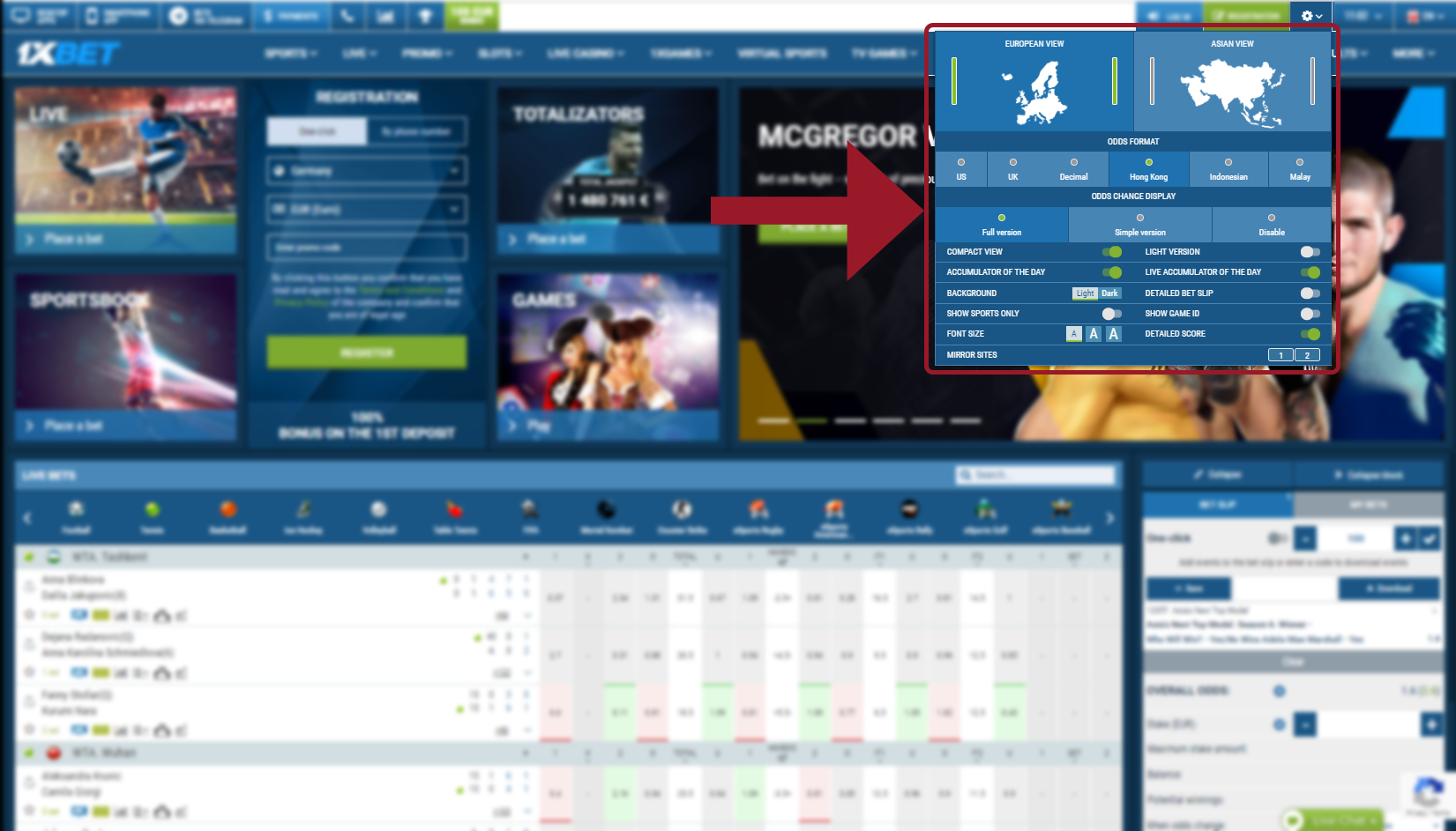 Customize 1xBet Sportsbook's interface for Muay Thai betting
