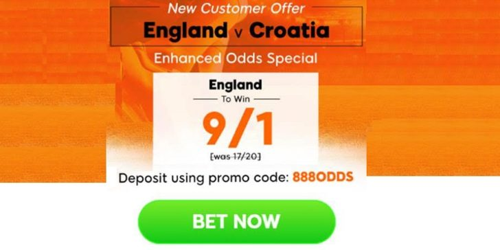 England v Croatia Enhanced Odds: 9/1 on England to Win; Only at 888sport!